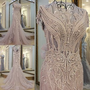 Abiye Luxury Long Mermaid Evening Dresses Beaded Crystal Evening Gowns Big Bow Lace Embroidery Dusty Gray Robe De Soiree Longue on Sale