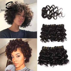 Wholesale 6 pieces Elegant Muses Brazilian Red Deep Curly Human Hair Bundles With Closure Non Remy Virgin Hair Weave Short Human Hair Extensions 8""