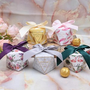 Wholesale 10PCS Set Bags Baby Shower Sweet Candy Box Gift Multicolor Candy Boxes Favor for Wedding Diamond Shaped Party Supplies