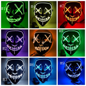 осветите маски  оптовых-Хэллоуин маски LED Mask Light Up Party Маски Неон Maska Косплей Тушь Horror Mascarillas Glow В Dark Masque EEA321