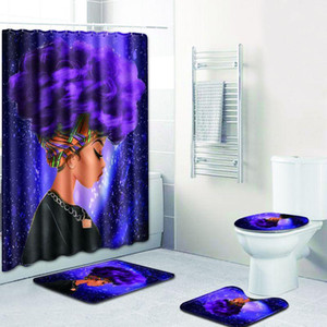 Fashion African Woman Pattern Polyester Shower Curtain Set Non Slip Rugs Carpet for Bathroom Toilet Flannel Bath Mat Set 4pcs