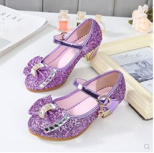Wholesale NEW Girls Shoes Glitter Princess High Heels Sandals Pink Dance Weddings Kids Fashion Butterfly Crystal Party Shoes
