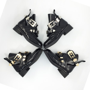 Wholesale Brand Hot Ankle Boots Heel Short Booties Gold Silver Metal Buckle Design Botas Woman Chaussures Femmes Runway Star Boots Chic