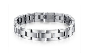 Wholesale titanium magnetic bracelets resale online - Men Link Chain Wrist Band Health Bracelet Jewelry Magnetic Titanium Stainless Steel Lover Birthday Anniversary Valentine Gift GS8012
