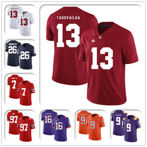 camisetas de alabama al por mayor-NCAA ALABAMA TUA TABOVAILO CRIMSON TIDE JERSEY Joe Burrow Jerseys Tom Brady Jersey Saquon Barkley Dwayne Haskins JR Footbal