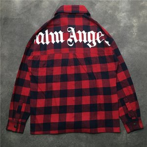 Wholesale NEW Fashion Streetwear Palm Angels Pockets shirt Red blue Plaid Long sleeve shirts 2019ss hip hop Men Women Palm Angels shirt
