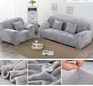 Solid Color Plush Thicken Elastic Sofa Cover Universal Sectional Slipcover 1 2 3 4 seater Stretch Couch Cover for Living Room