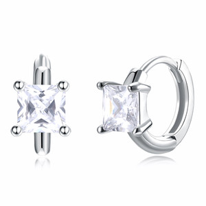 Wholesale square jewelry back resale online - Stylish Earrings S925 Sterling Silver Mosaic Zircon Square Clip on Screw Back Earring Fashionable Elegant Designed Jewelry Gifts POTALA046