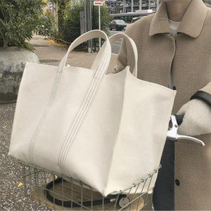 Large Shopping Bag Jumbo Canvas Totes Beach Bag Summer White Casual Totes 2019 INS Fashion Beige White Color drop shipping J410