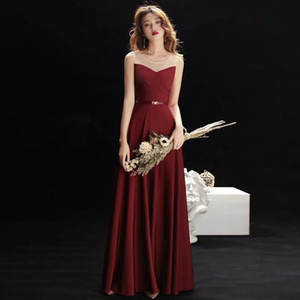 Wholesale A word shoulder toast suit modern bride wedding recalls evening dress female red clothes long engagement