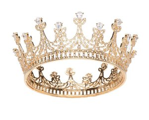 Wholesale Luxury Zircon Tiara Full Round Crown Wedding Bridal Crystal Rhinestone Hair Accessories Jewelry Ornament Headdress Party Queen Tiara Jewelry