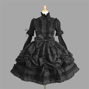Wholesale Female Princess Halloween Victorian Gothic Lolita Costume Lady Maid Layered Dress Cosplay Games Q190521