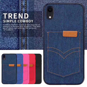 Wholesale Hanman sail PU Leather Wallet Card Slot Holder Denim fabric Back Case for iphone Pro Max XS Max XR Samsung S10 Plus Note Retail box