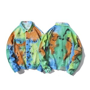 Wholesale Artist Hand Painted Ink Graffiti Men and Women Fashion Street Jacket Luxury High Quality Fashion Brand Nightclub Judy Designer Jackets Top