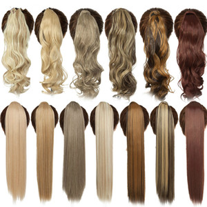 18'Inch Long wavy Clip In Hair Tail False Ponytail Hairpiece With Hairpins Synthetic PonyTail Hair Extension