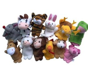 Wholesale-Chinese Zodiac Finger Puppets 12pcs lot Animals Cartoon Finger Puppet For Kids Plush Toys Hand Dolls Pig Dog