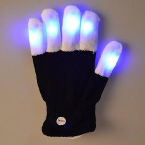 Wholesale Led Rave Flashing Glove piece Glow Mode Light Up Finger Tip Lighting Black Vd New Hot Glove