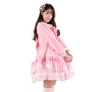 Wholesale Sweet Love Lolita Pink Coats Winter Warm Fleece Cute Jacket Bow Lace Soft Fabric Women Princess Loose Autumn Pretty Long Coat