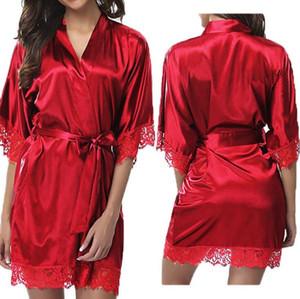 e093581365d 2019 new fashion women s sexy silk deep V bathrobe robe pajamas dress sexy  pajamas dress authentic