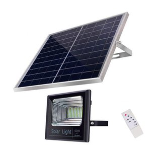 Wholesale 60W Solar Powered LED Dusk to Dawn Security Flood Light IP65 Waterproof Super Bright Remote Control Solar Light for barn garden pathway
