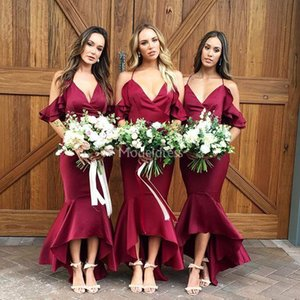 Wholesale Chic Burgundy Mermaid Bridesmaid Dresses Spaghetti Strap Cascading Ruffles High Low Stylish Maid Of Honor Dresses Country Wedding Guest Gown
