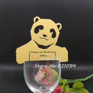 Wholesale 50pcs laser Cut Birthday party Lovely bear Cup Cards Wedding Party Name Cards Place Card Seat Invitation Cup Card