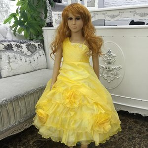 Wholesale Child Party Dress With Bustle Mid Calf Pageant Ball Gowns New Arrival Yellow Flower Girl Dresses For Weddings