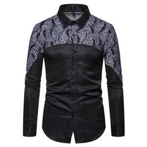 Wholesale Print Floral Shirt Casual Men Part Print Floral Pattern Design Turn Down Collar Long Sleeve Patchwork Men Dress Shirt S XL J190804