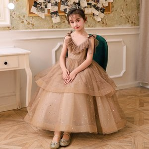 Wholesale 2019 New Arrival Ball Gown Flower Girls Dresses Soft Tulle with Gold Sequins Light Chocolate Flower Girls Dress