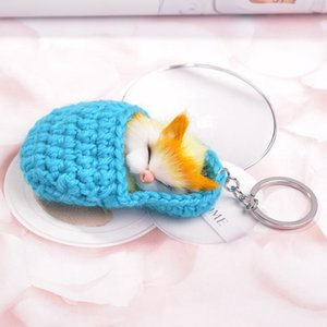 Wholesale Sleeping cat cute keychain Plush luxury fashion designer little mouse keyring womens bag charm animal plush keyring bag car Lover Keychains