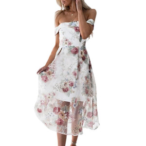 Women's Sexy Off Shoulder Floral Print Organza Dress Slim Waist Swing Cocktail Party Dress Flared