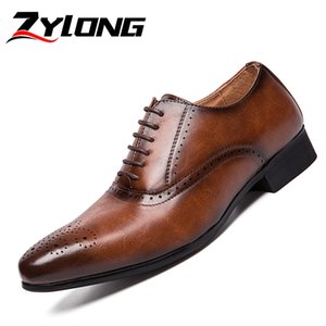 Wholesale Gentleman Shoes Men Unique Designer Business Office Shoes Italian Oxford for Men Elegant Dress Brown Black