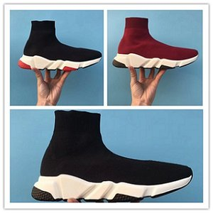 Wholesale 2019 new designer men s women s speed trainer socks shoes black and white red sequins flat fashion men s casual shoes size