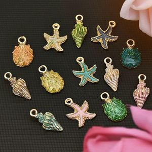 Wholesale 13pcs Coloful Nautical Ocean Starfish Shell Conch Sea Enamel Charms DIY Bracelet Necklace Jewelry Accessory DIY Craft