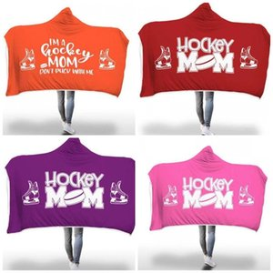 Wholesale Hockey Moms Hooded Blanket Digital Printing Thicken Double Layer Cloak Winter Warm Cape For Men Women Household cm oh E1