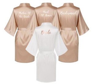 Wholesale Satin Silk Robes Plus Size Wedding BathRobe Bride Bridesmaid Dress Gown Women Clothing Sleepwear Maid of Honor Rose Gold
