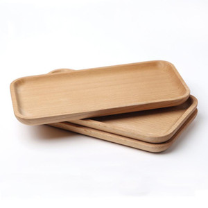 Square Dessert Plate Beech Plate Dish Sushi Dish Fruits Platter Dish Tea Server Tray Wooden Cup Holder Bowl Pad Baking Tableware BC BH1579