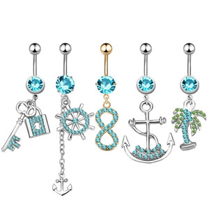 Wholesale 5PCS Bohemian Coco Piercing Navel Charm Punk Gold Crystal Rhinestones Anchor Navel amp Belly Button Rings Body Piercing Jewelry