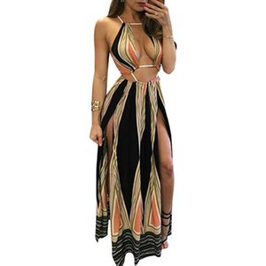 Wholesale Sexy Stitching Hanging Neck Bohemian Dress Lady Summer Irregular Hollow Fashion Chiffon Dress Girl High Rise Slim Beach