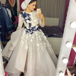 2019 Aso Ebi Arabic Muslim Lace Evening Dresses Long Sleeves Beaded Prom Dresses Tulle Vintage Formal Party Second Reception Gowns ZJ453 on Sale