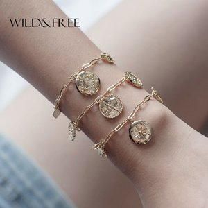 Wholesale Wild Free Star Coin Pendant Link Bracelets Bangles Women Gold Metallic Punk Twist Chain Charms Bracelets Party Jewelry Gifts