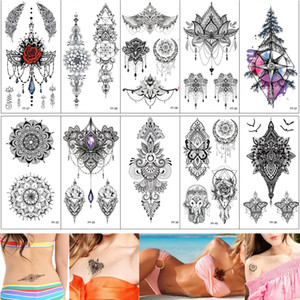 Wholesale sexy jewelry for women ankle for sale - Group buy Sexy Chest Tattoo Design Temporary Jewelry Necklace Pendant Rose Flower Heart Eagle Feather Tattoo Sticker for Women Skeleton Waist Henna D