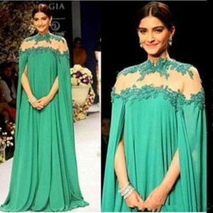 Wholesale Emerald Green Dubai Evening Dresses High Sheer Neck lace Chiffon full length kaftan Arabic Prom Dresses with long cape