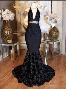 Wholesale Open Back Black Mermaid Evening Prom Dresses New Lace Applique Flowers Sweep Strain Halter Neck Women Wear