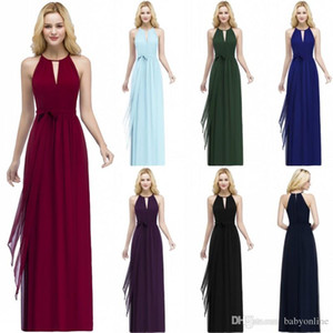 Wholesale pleated chiffon halter evening dress resale online - New Arrival Burgundy Chiffon Bridesmaid Dress Floor Length Pleats Evening Prom Gowns Sexy Halter Neck with Belt CPS868