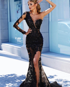 Wholesale Lace Split Side Mermaid Evening Dresses One Shoulder Plunging Neck Sequined Prom Gowns Black Plus Size Long Sleeve Formal Dress