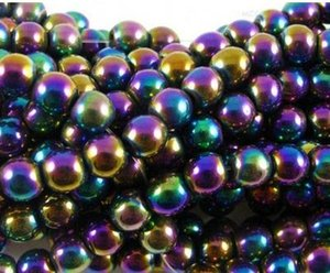 Wholesale hot ball numbers for sale - Group buy hot mm mm silver gold plated multicolor Hematite Round Bead Beads Loose ball Bead crystal Findings