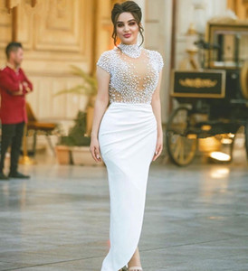 White Pearls Evening Dress 2020 Modern High Neck Cap Sleeve Dubai Kaftan arabic Prom Dresses Long Women Formal Gowns with Slit on Sale