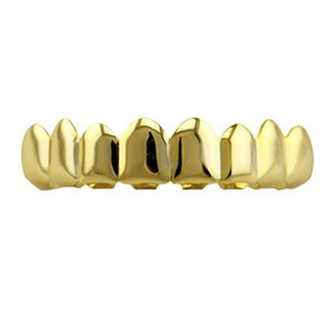 Wholesale Upper Real Gold Braces Punk Hip Hop Gold Teeth Grillz Dental Mouth Punk Teeth Caps Cosplay Party Tooth Rapper Gift