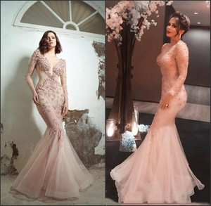 Wholesale Sexy Mermaid Evening Dresses Long Sleeves Illusion Sheer V Neck Lace Appliques Flowers Prom Party Gowns Arabic Blush Pink Formal Event Wear